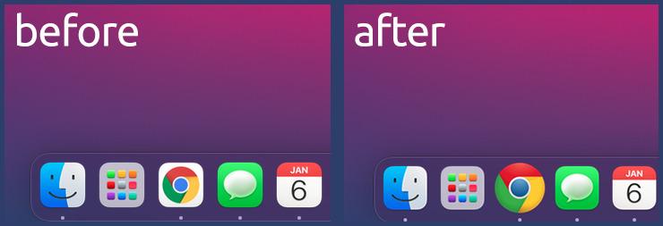 Chrome's original icon (left) and the user-set icon (right)