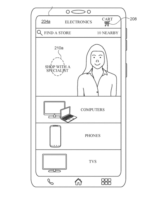 Detail from the patent application showing the Apple Store app with an in-video Personal Shopper