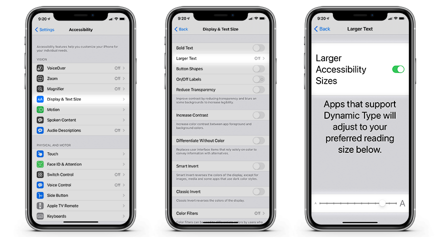 How to make text larger via Accessibility settings on iOS
