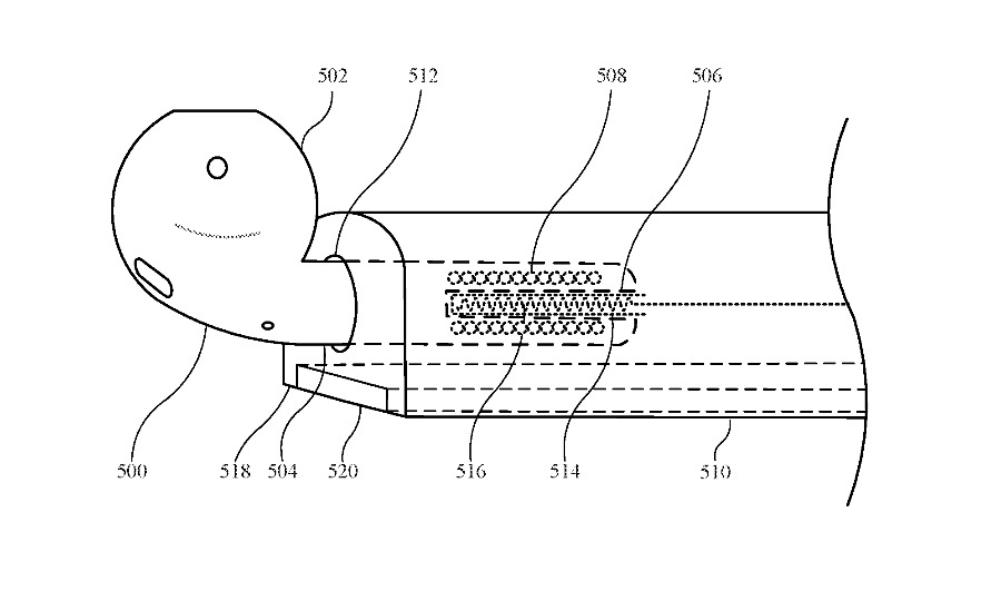 Detail from the patent showing an AirPod being charged