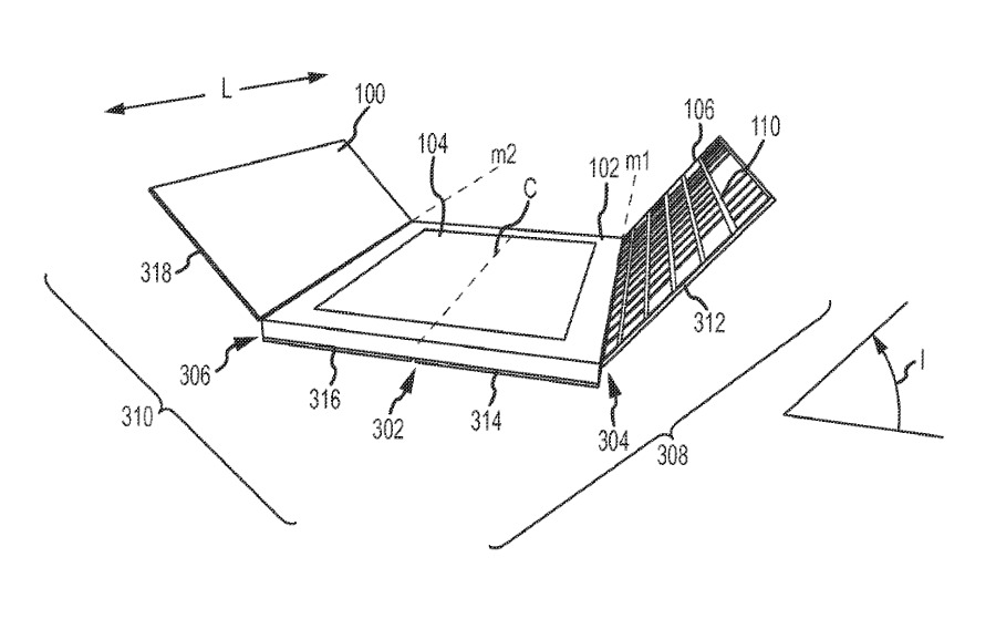 Detail from the patent showing one view of a front-and-back iPad cover including a keyboard