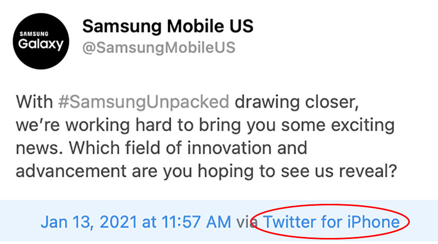photo of Samsung inadvertently uses iPhone to tweet Galaxy Unpacked promo image