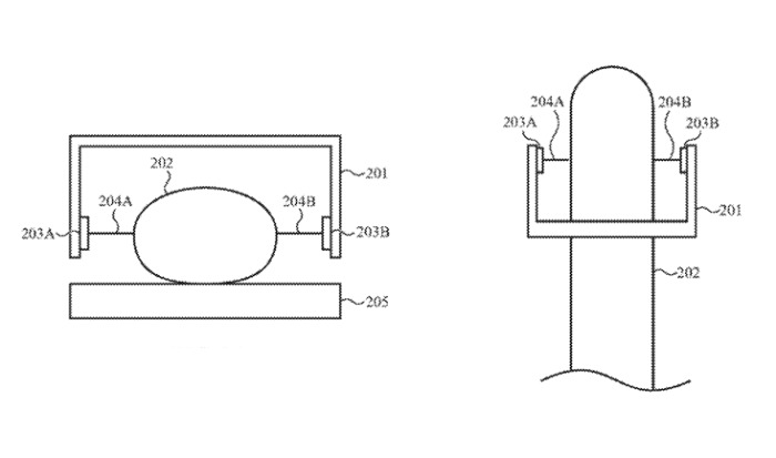 Detail from the patent showing (left) a front and (right) top view of a finger being detected without touch sensors