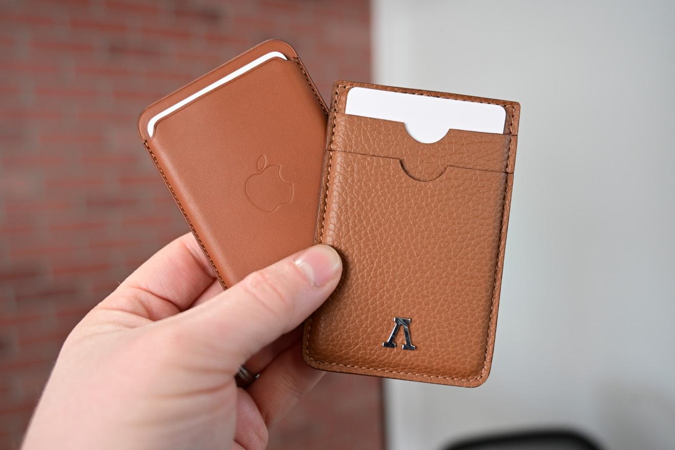 Honey brown Labodet wallet compared to Apple's Saddle Brown wallet