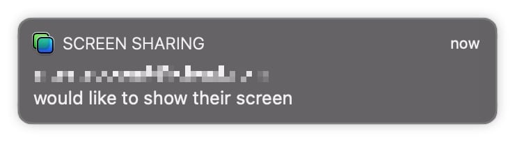 An example of a Screen Sharing notification