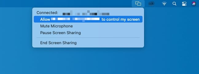 When sharing the desktop, the user can manage if their Mac can be remotely controlled, their mic, and to disconnect the remote user.