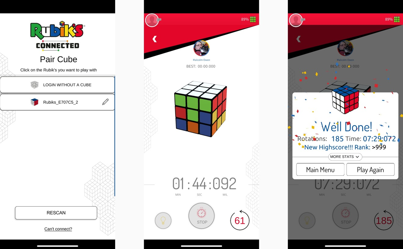 Pairing the cube is straightforward, as is the Quick Timer function to time your solves.