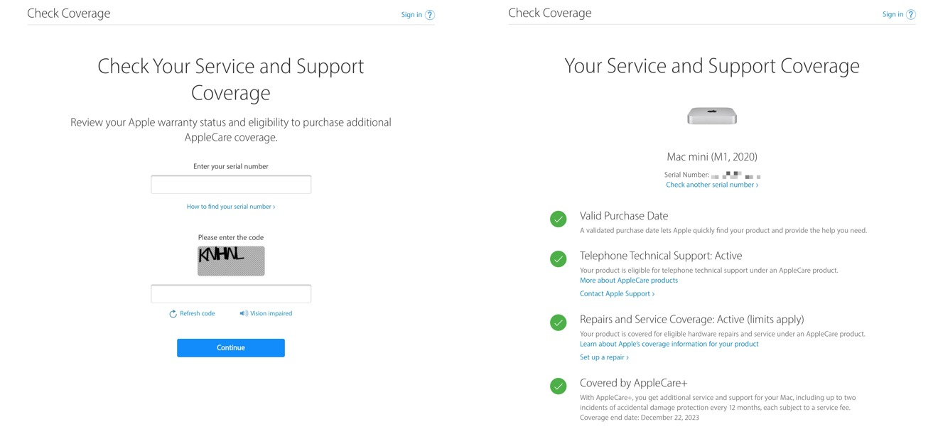 The Check Coverage page works without needing authentication.