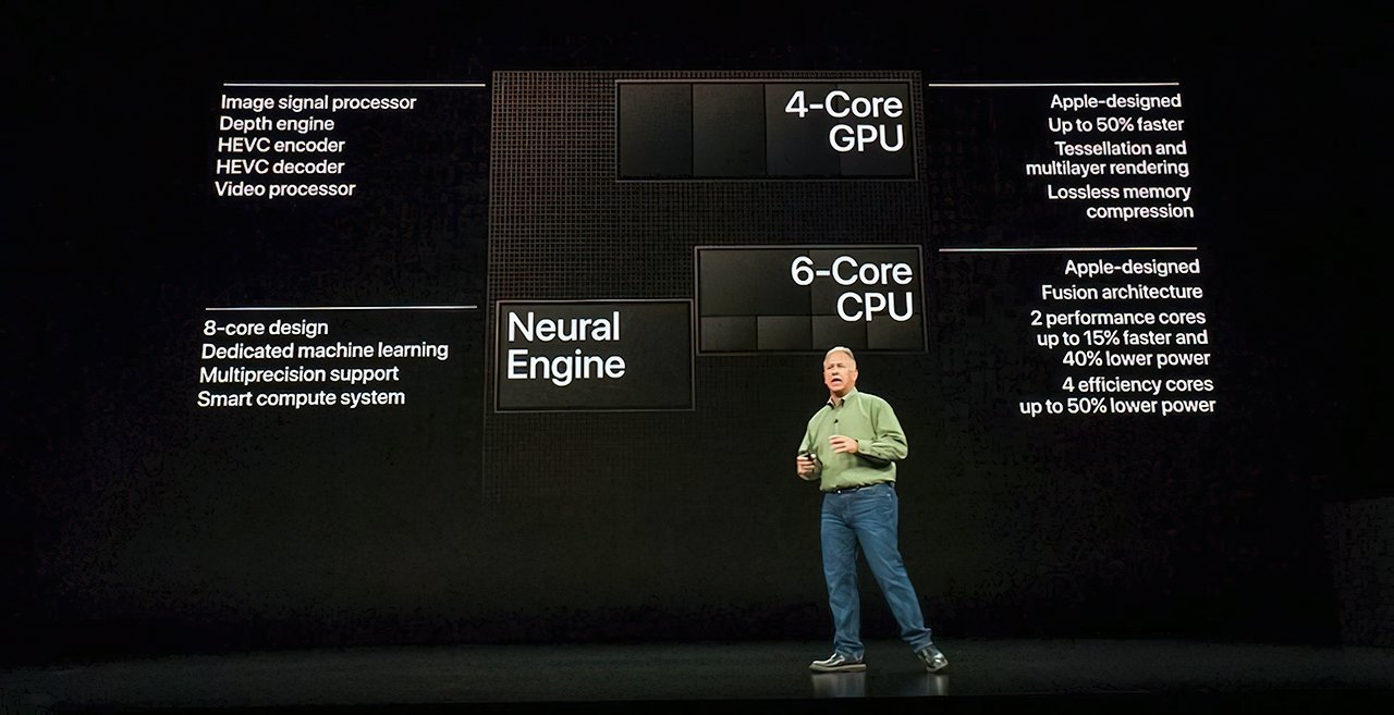 Phil Schiller introducing the A12 Bionic chip powering the 2018 iPhones