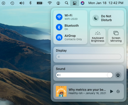 You can enable AirDrop in the macOS Big Sur Control Center.