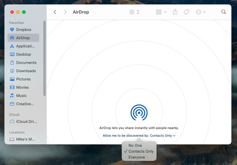 Вы также можете включить AirDrop в Finder.