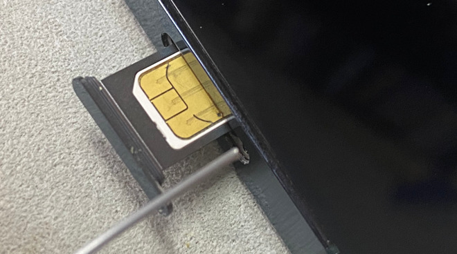 Removing a SIM card from an iPhone 12 Pro