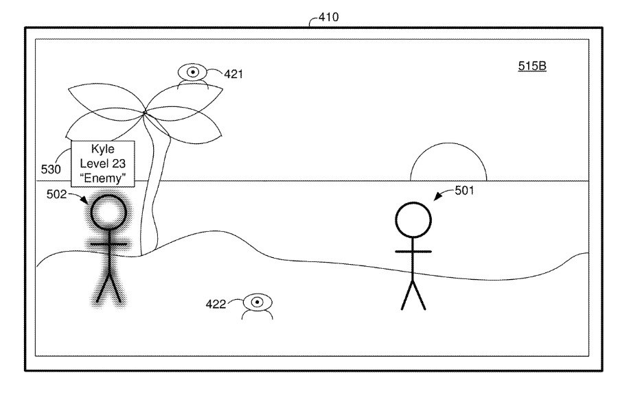 Detail from the patent. Figures 501 or 502 could be excluded from the CGR environment
