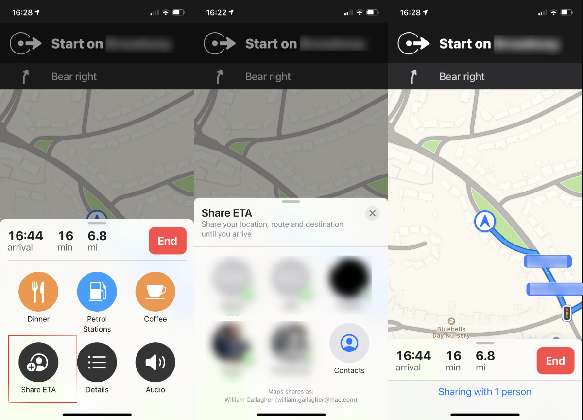 Sharing ETA only works with car rides, not transit