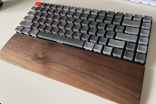 There's only one typing angle and the keyboard is taller than a standard Apple one, so this separately sold palm rest is useful