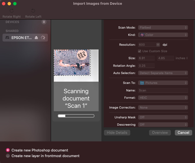 You can easily import scans directly from programs such as Photoshop