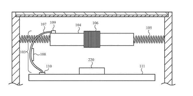 Detail from the patent showing a movable battery connected to the Apple Watch chassis