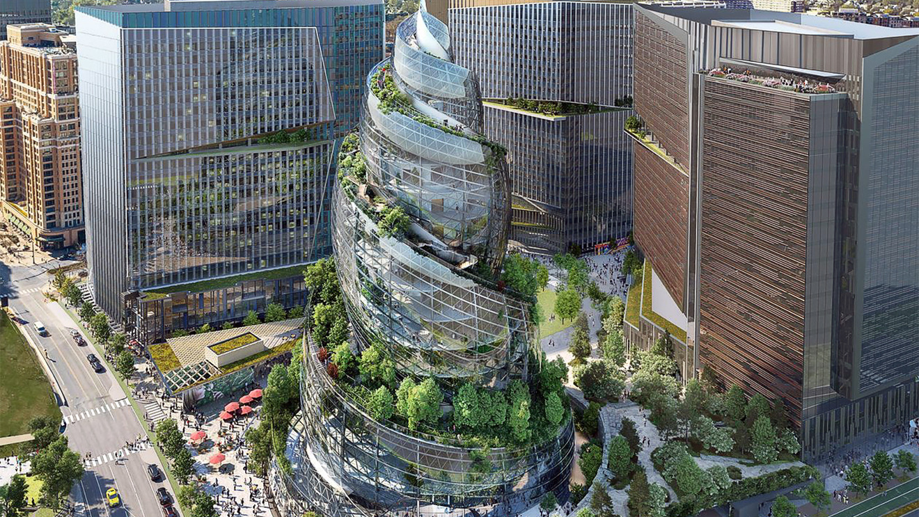 Amazon's New Headquarters 'Helix' Is a Giant Glass Swirly Surrounded By Trees
