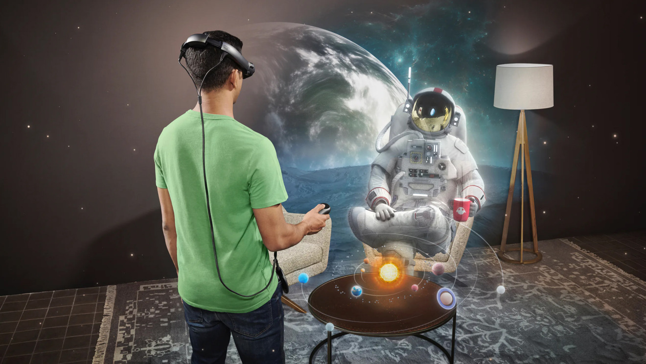 Marketing render of what the user sees in Magic Leap 1, an early AR headset
