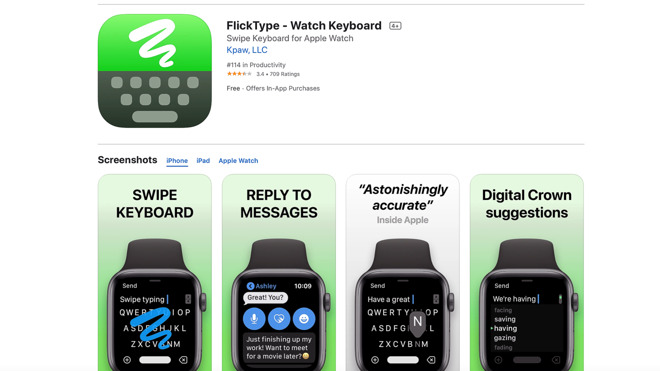 App Store listing for FlickType, the oft-copied indie app that sparked the debate