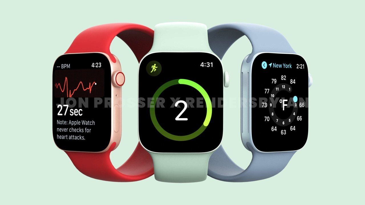 Renders from as early as May 2021 show flat-sided Apple Watches. Image Credit: Front Page Tech