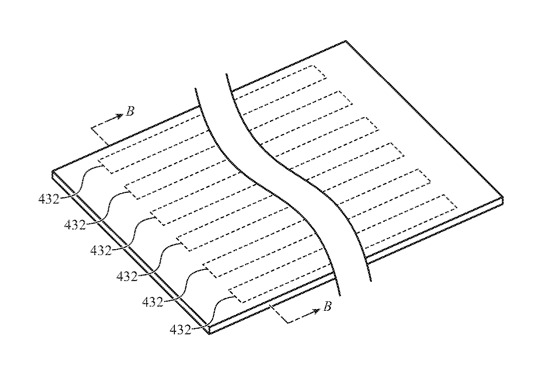 Detail from the patent showing one system of interweaving multiple sensors