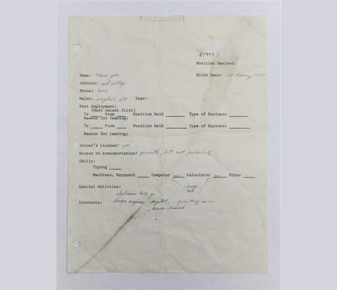 Steve Jobs' job application [via Charterfields]