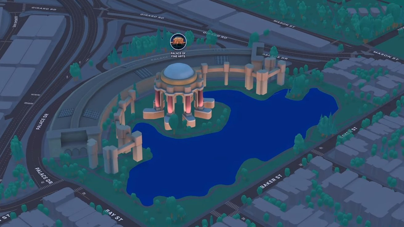 Some locations will have custom designs that light up at night in Apple Maps