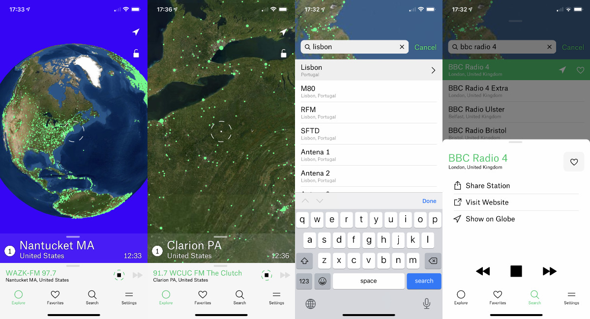 You can swipe around the globe to find stations, to search directly