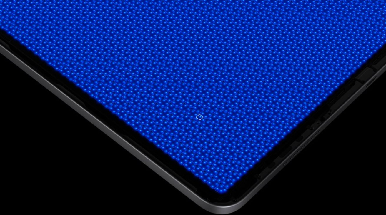 The entire rear of the 12.9-inch iPad Pro display houses a layer of over 10,000 mini LEDs as a backlight. Each group of four is a localized dimming zone. [via Apple]