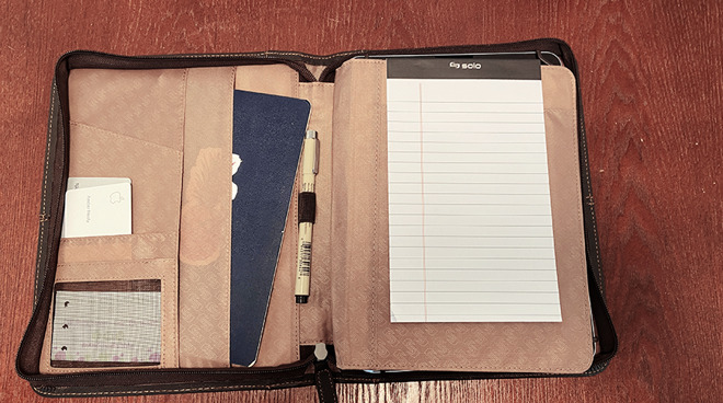 Premiere Universal Leather Padfolio open notepad