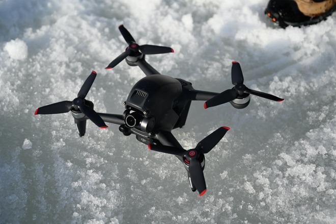 DJI FPV drone in the snow