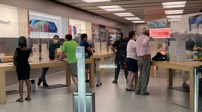 Open Apple Stores have plexiglass fixtures and other health precautions in place