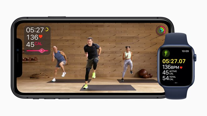 Apple Fitness+ on an iPhone with an Apple Watch. Credit: Apple