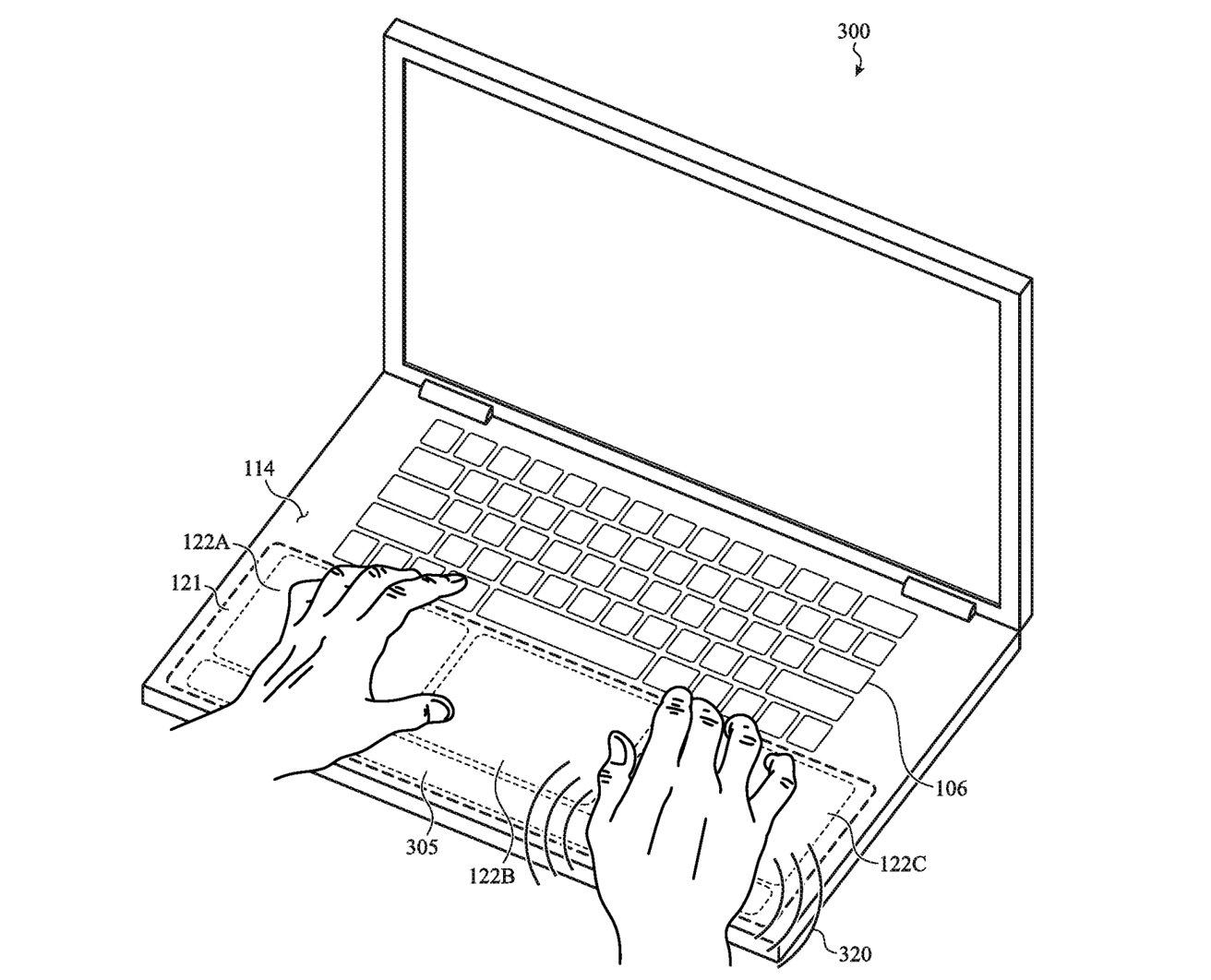 A MacBook's lower portion could keep haptic vibrations to specific areas.