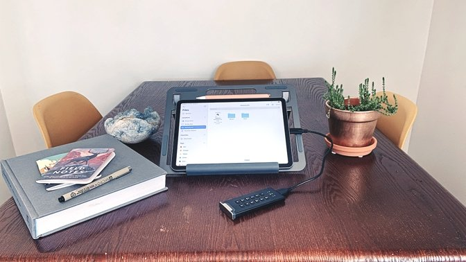 The DiskAsure M2 is compatible with USB-C iPads, like the iPad Air 4 and the iPad Pro