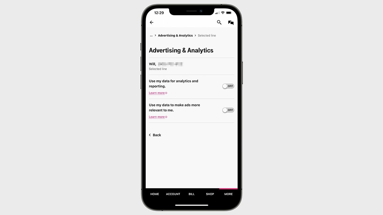 The menu screen to opt out of T-Mobile's ad-sharing