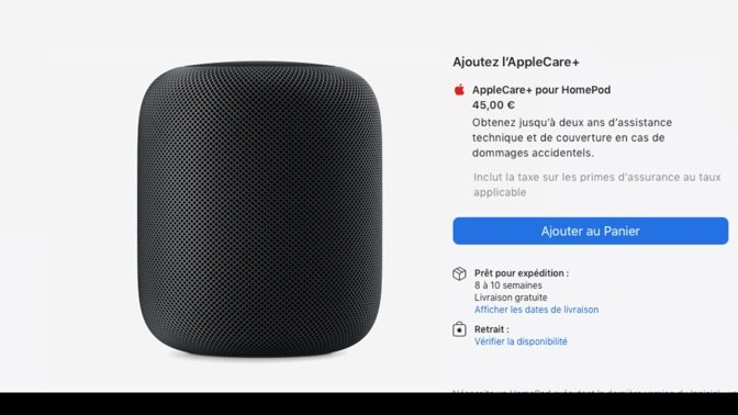 The current listing in France for the black HomePod