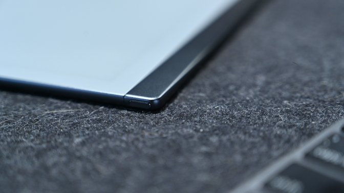 The tablet is very thin with nice details, such as the chamfered edge on the sleep/wake button