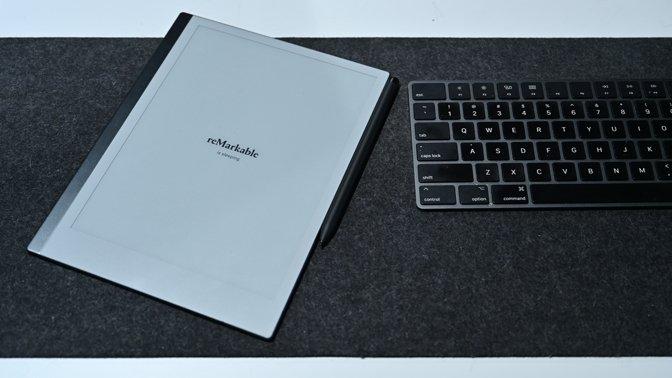 reMarkable 2 tablet on our desk
