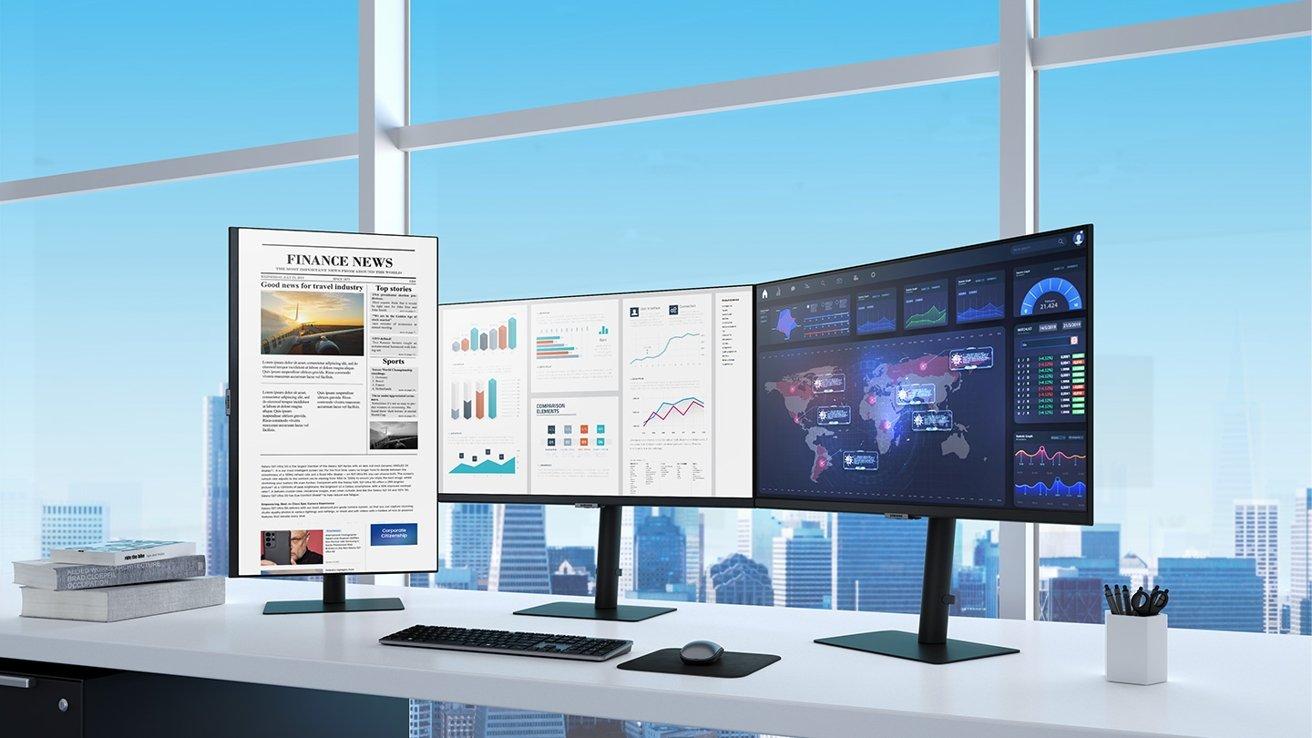 Samsung's 2021 display range includes minimal bezels for better multi-display setups.