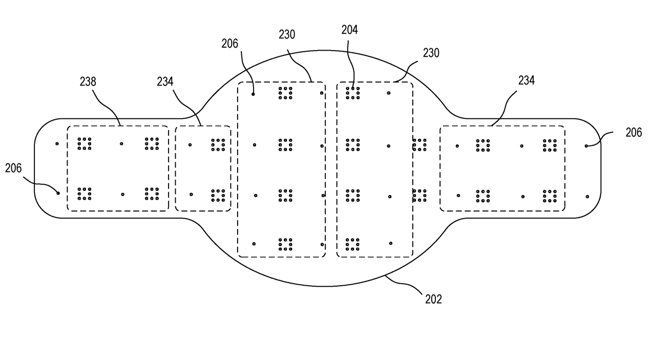 Detail from the patent showing how elements of the flexible display could be arranged. Notice they're not round.