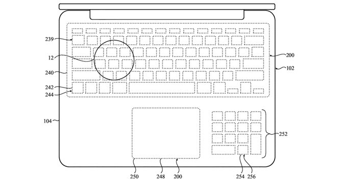 Light holes could be used to show different keyboard configurations on the surface.