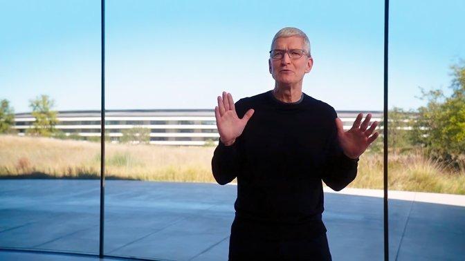 Tim Cook during Apple's November event showcasing M1 Macs