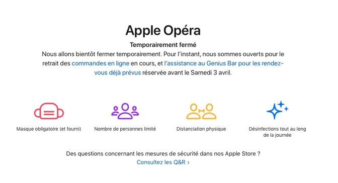 Notice on the Apple Opera store's website