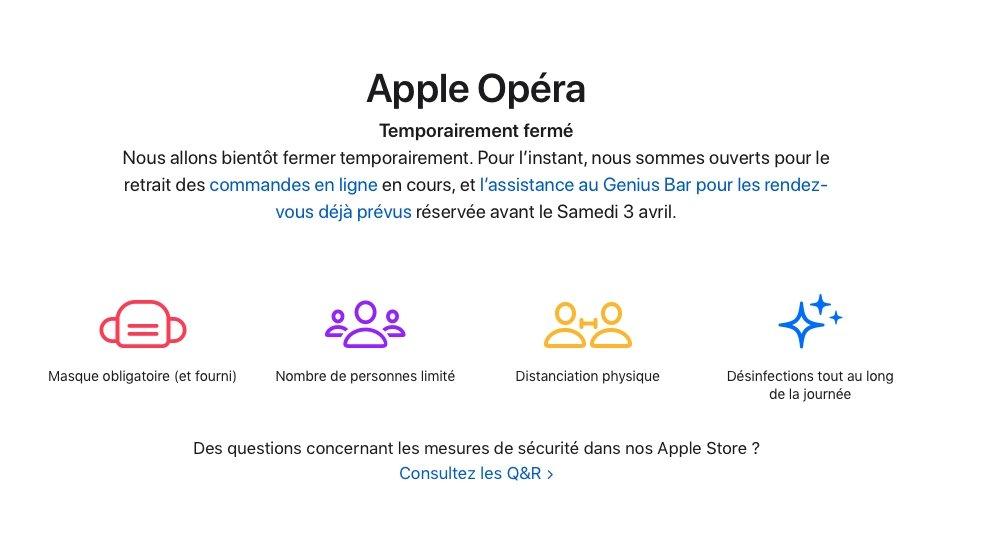 Notice on the Apple Opera store's website