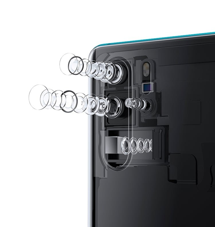 An exploded view of the Huawei P30 Pro, showing the periscope lens' different orientation to conventional cameras.