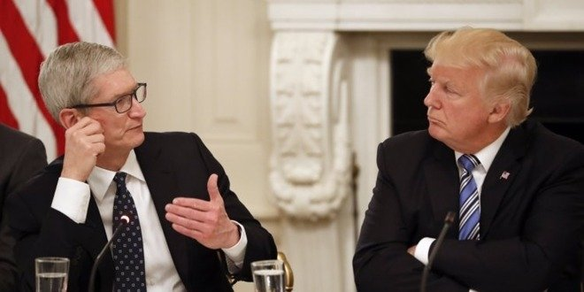 Apple CEO Tim Cook and former President Donald Trump