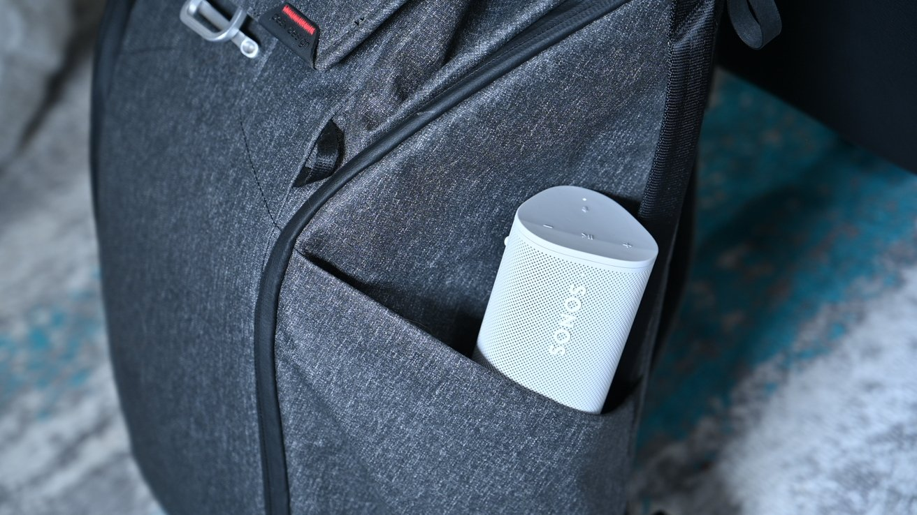 Sonos Roam fitting in our Peak Design Everyday Backpack