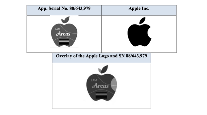 Detail from Apple's opposition filing showing the two logos side by side, plus overlaid to the same size
